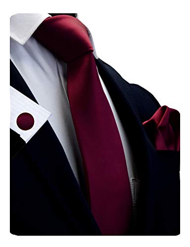 GUSLESON Brand Men's Wedding Solid Wine Burgundy Tie Necktie With Cufflinks and Pocket Square (0789-06)