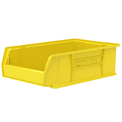 Akro-Mils 30280 20-Inch D by 12-Inch W by 6-Inch H Super Size Plastic Stacking Storage Akro Bin, Yellow, Case of 4