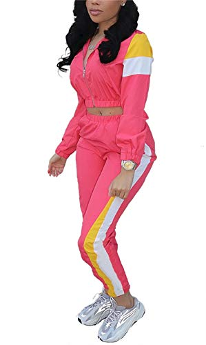 2 Piece Outfit Pink (Women's Patchwork 2 Piece Outfit Long Sleeve Crop Top Tracksuit Pullover Hoodies High Waisted Long Pants Set)