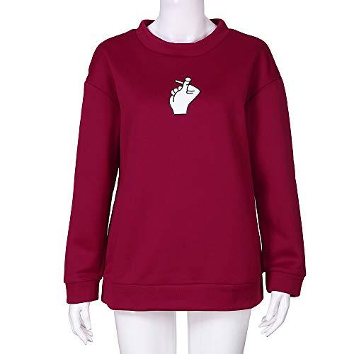 AIMEE7 Blouse Manches Shirt Chic Rouge Femme Top Shirt T Tee Longues Mode Imprim Chemisier r0r1n