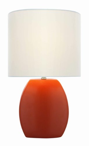 Lite Source LS-21506ORN Reiko 16.5-Inch Ceramic Table Lamp, Orange with White Fabric Shade