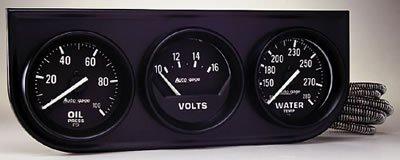 """Autometer 2397 2"""" 3 GAUGE CONSOLE, OIL/ WATER/VOLT, MECH, BLACK"""