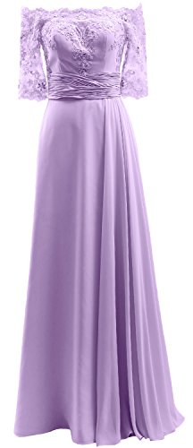 Lavendel Dress Lace the Off Evening Half MACloth Chiffon Prom Sleeve Formal Gown Shoulder Y1q0407