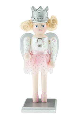 "Clever Creations Chubby Sugar Plum Fairy Nutcracker | Traditional Chubby Fairy Nutcracker Wearing White Sparkly Top with Baby Pink Tutu and Ballerina Shoes | 7"" Tall with Clear and Silver Wings"
