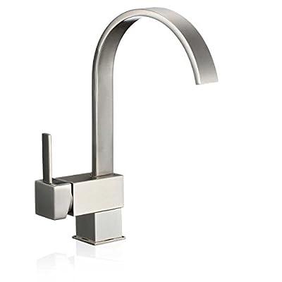 "13"" Modern Kitchen Bathroom Bar Bathroom Sink Faucet Single Hole Brushed Nickel"