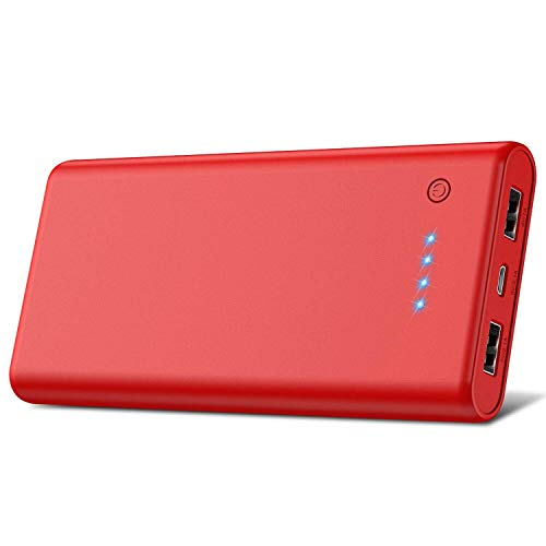 Portable Charger Power Bank【24800mAh】HETP High Capacity External Battery Pack with 4 LED Lights Ultra-Compact High-Speed Recharging Battery Charger for Smart Phone Android Phone Tablet and More - Red