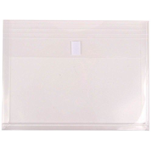JAM PAPER Plastic Expansion Envelopes with Hook & Loop Closure - Letter Booklet - 9 3/4 x 13 with 1 Inch Expansion - Clear - 12/Pack