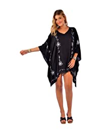 1 World Sarongs Womens Embroidered Poncho Cover-Up Black and White