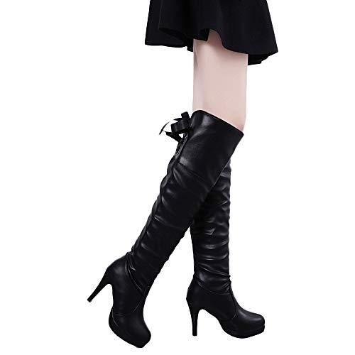 (Faionny Women Belt Buckle Boots High Heels Faux Leather Boots Knee Thin Heel Boots Platform Long Shoes Warm Snowshoes (Black 1, US:7))