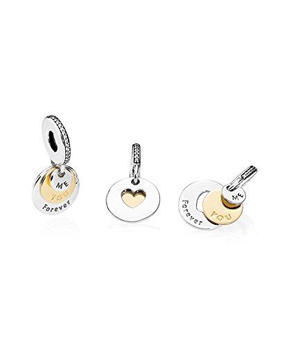 PANDORA - Charm pendentif Toi et Moi pour Toujours Argent 925/1000 et Or 585/1000 Pandora 791979CZ