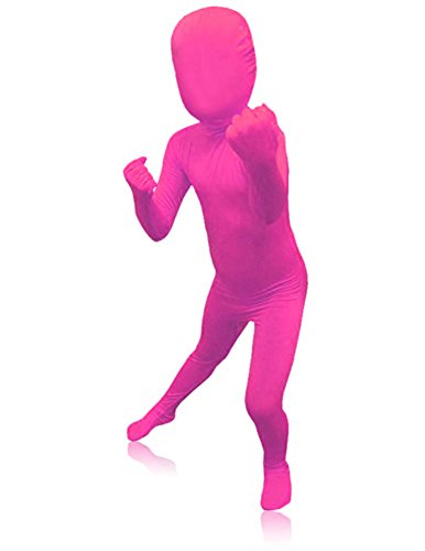 [SecondSkin Men's Full Body Spandex/Lycra Suit, Pink, Kids M] (Pink Man Suit)