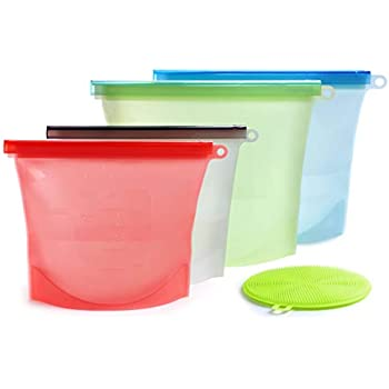 Amazon.com: Reusable Silicone Food Storage Bag - 2 Large&2