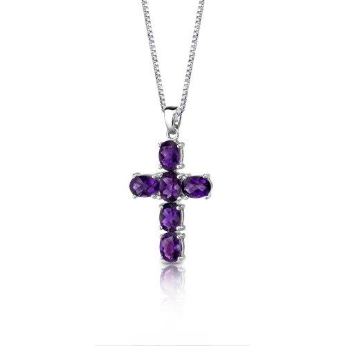 Amethyst Cross Pendant Necklace Sterling Silver Rhodium Nickel Finish 4.50 Carats