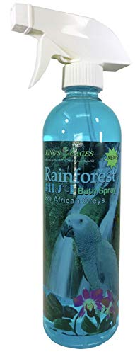 King's Cages Rainforest Mist Bath Spray for African Greys 17oz Parrot pet Toys Accessories Supplies Water Care Natural Health Shampoo Supplement Veterinarian Aviary Relief