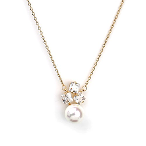 Gold Grey Pearl - Sophisticated Gold Tone Designer Necklace with a Faux White Princess Cut Sapphire & Pearl Combination (Gold Pearl 3)