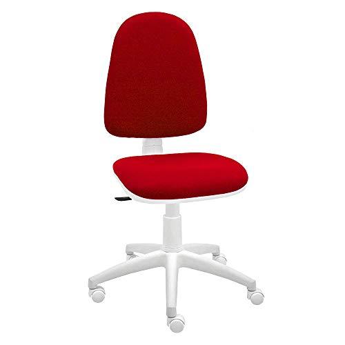 Silla giratoria Blanca de Oficina y Escritorio, Modelo Torino, diseno 100% Blanco ergonomico con Contacto Permanente (Rojo)
