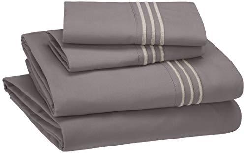AmazonBasics Embroidered Hotel Stitch Sheet Set - Premium, Soft, Easy-Wash Microfiber - Queen, Dark Grey