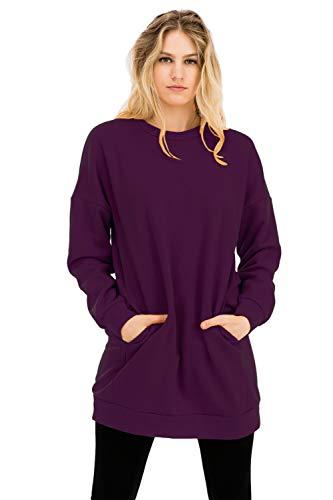 NANAVA Casual Loose Fit Long Sleeves Over-Sized Crew Neck Sweatshirts Dark Plum S/M ()
