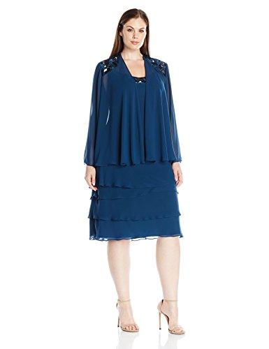 S.L. Fashions Women's Plus-Size Sequin Chiffon Jacket Dress, Mid Teal, 18W ()
