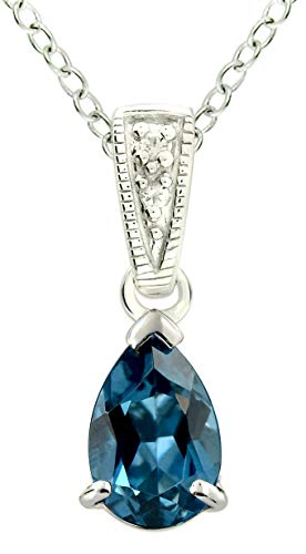 - RB Gems Sterling Silver 925 Pendant Necklace Genuine Gemstone Pear Shape 9x6 mm, Rhodium-Plated Finish, 18