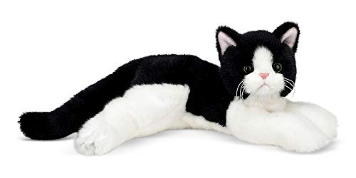 Bearington Domino Plush Stuffed Animal Black and White Tuxedo Cat, Kitten 15