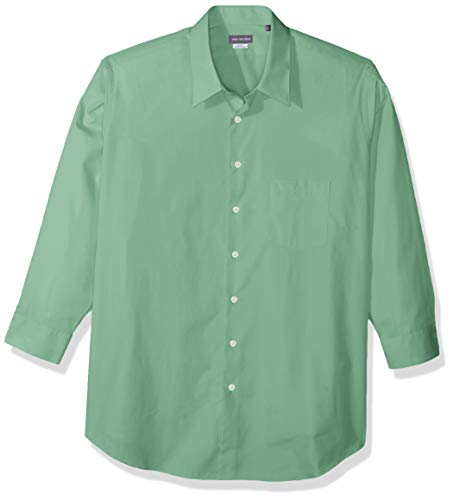 (Van Heusen Men's FIT Dress Shirt Poplin Solid (Big and Tall), Leaf, 18
