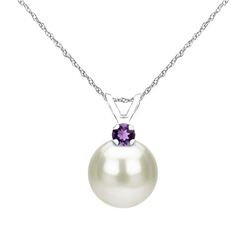 14K White Gold Chain Freshwater Cultured 9-9.5mm Pearl and Simulated Purple Amethyst Pendant Necklace Amethyst Cultured Pearl Necklace