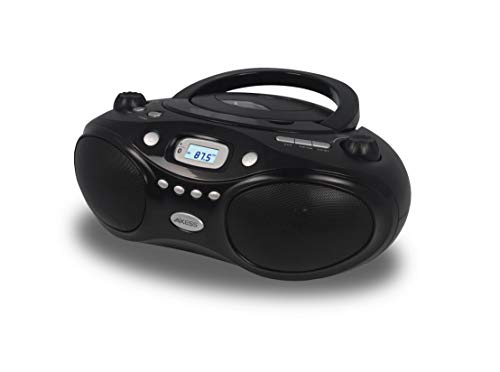 AXESS PBBT3862 Portable Thunder Blast Cd Bluetooth Boombox with Am/FM Stereo, Aux Line-in, Headphone Jack Black