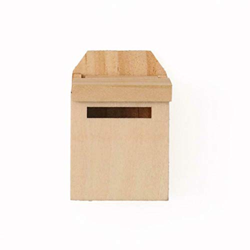 NATFUR Dollhouse Miniature Natural Wood Mailbox with Decal Fairy Garden Decor 1/12