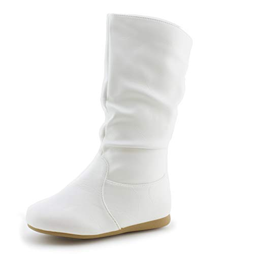 Link Girls Side Zipper Faux Leather Boots, White, 1 M US Little Kid ()