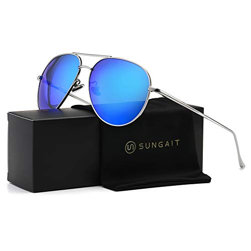 SUNGAIT Women's Lightweight Oversized Aviator Sunglasses - Mirrored Polarized Lens (Silver Frame/Ocean Blue Mirror ()
