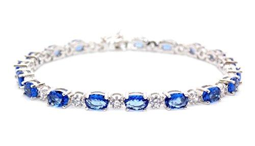 Bracelet rivière en argent sterling avec tanzanites et diamants 7,86carats