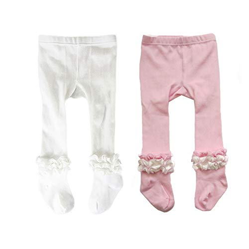 Baby Girls Cable Knit Ruffle Tights Toddler Infant Cotton Leggings Pantyhose Stockings (White and Pink, 12-24 Months)