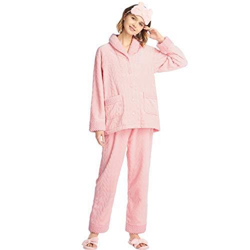 SANQIANG Womens Soft Coral Fleece Pajamas Set Winter Midweight Sleepwear for Women