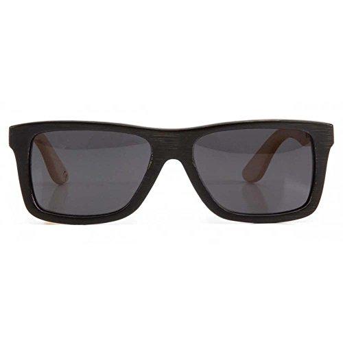 Woodzee Trinity Bamboo Two-Tone Black/Natural Polarized Smoke Wood Sunglasses