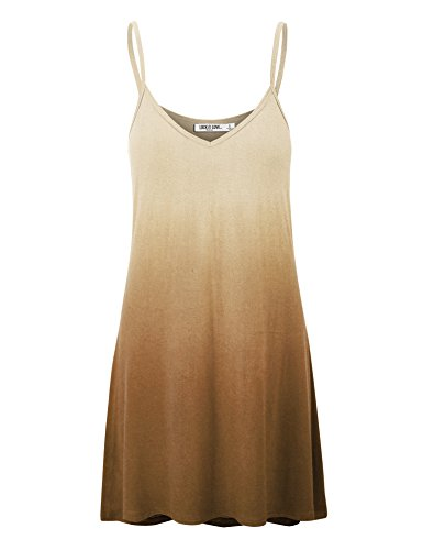 Brown Strappy Dress - WDR1139 Womens V Neck Dip Dye Spaghetti Strap Tunic Short Dress XL Brown