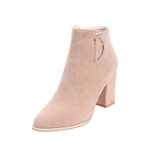 Stiefel Boots Ankle High Beige Leder Heel Damen Schuhe Blockabsatz  Reißverschluss Plateau Square Martin Schwarz Boots ... 01c7e85e75