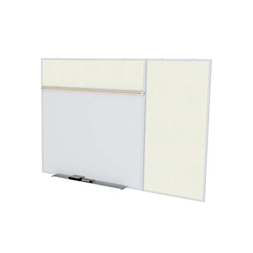 Ghent Style B 4 x 10 Feet Combination Board, Porcelain Magnetic Whiteboard and Vinyl Fabric Bulletin Board, Ivory , Made in the USA