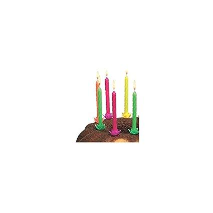 Susy Card 11142676 Kerzen mit Halter, 12-er Set, neon SC-MS-11142676