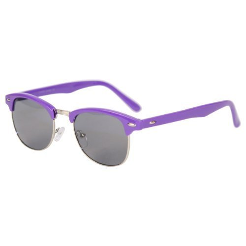 Classic Iconic Retro Classic Style Half Frame Horn Rimmed Sunglasses (Black, - Label Private Sunglasses