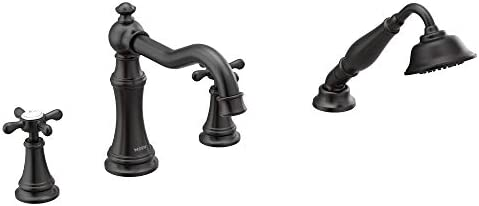 Moen TS21102BL Weymouth Roman Tub Faucet Trim with Cross Handles, Valve Required, Matte Black