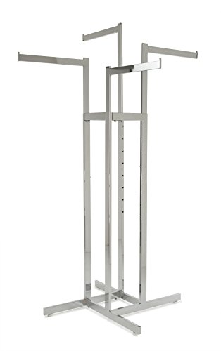 Econoco - Chrome 4-Way Clothing Rack, Straight Adjustable Height Arms, Rectangular Tubing, Perfect for Clothing Store Display - Straight Arms Rectangular Tubing