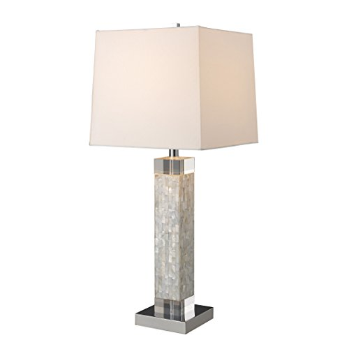 Manhattan Collection Luzerne Table Lamp In Mother Of Pearl With Milano Off White Shade