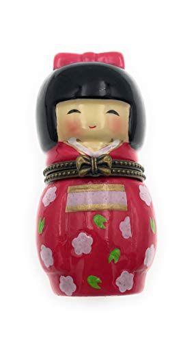 - Art Gifts Porcelain Japanese Friendship Doll Red Kimono Hinged Lid Trinket Box with a Tiny Trinket Inside, 3.5 Inches Tall