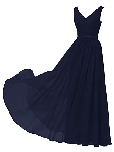 Alicepub V-Neck Chiffon Bridesmaid Dress Long Party Prom Evening Dress Sleeveless, Dark Navy, US8 (Chiffon Floor Length Gown)