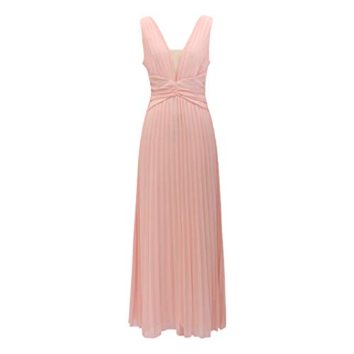 iHPH7 Dress Beaded Prom Dress Long Bridesmaid Gowns for Wedding Sexy Showback Sexy Deep V Sleeveless Neckless Dress Long Dress Women (L,Pink)