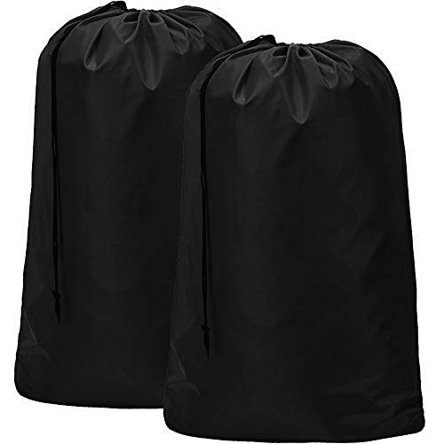HOMEST 2 Pack Nylon Laundry Bag, 28 x 40 Inches Travel Drawstring Bag, Rip-Stop Large Hamper Liner, Machine Washable, Black -