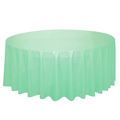 Round Mint Plastic Tablecloth, 84