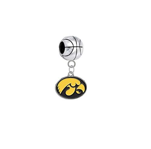 Iowa Hawkeyes Basketball 3D Universal European Bracelet Charm