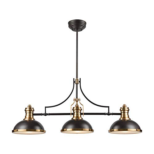 Elk Lighting 67217-3 Chadwick 3 Oil Rubbed Bronze with Metal and Frosted Glass Island Light, Satin Brass